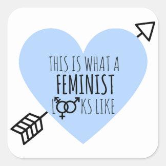 Wie dieses ist, was ein Feminist aussieht Quadratischer Aufkleber