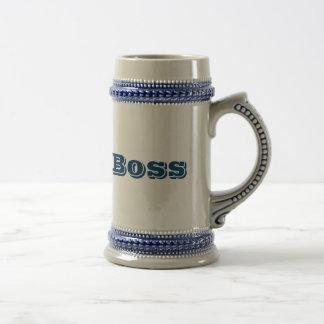 """""""Wie ein Chef"""" möbelte oben Getränkestein auf Bierglas"""