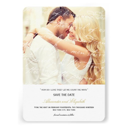 Wie i-Liebe Thee Gedicht-Foto-Save the Date Karte  Einladungskarte
