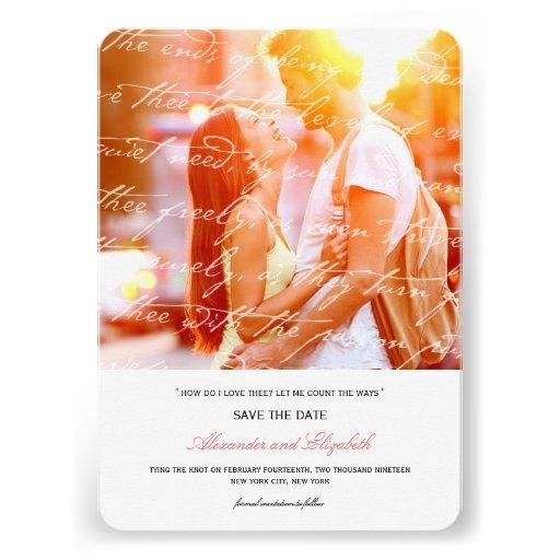 Wie i-Liebe Thee Gedicht-Foto-Save the Date Karte  Personalisierte Ankündigungskarte
