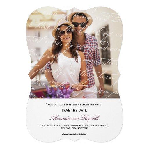Wie i-Liebe Thee Gedicht-Foto-Save the Date Karte  Personalisierte Einladungskarte