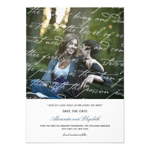 Wie i-Liebe Thee Gedicht-Foto-Save the Date Karte  Personalisierte Ankündigung