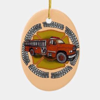 Wie ich Firetruck rolle Ovales Keramik Ornament