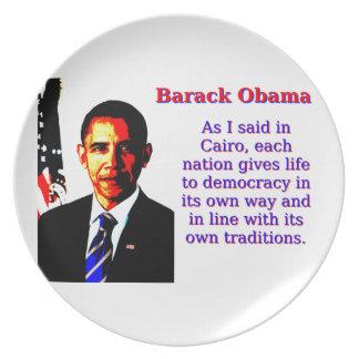Wie ich in Kairo - Barack Obama sagte Melaminteller