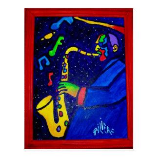 Wie Jazz-Mann durch Piliero Postkarte