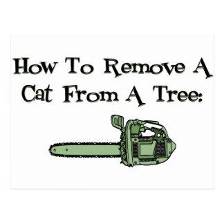 Wie man eine Katze von einem Baum entfernt Postkarte