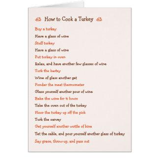Wie man Erntedank-Rezept-Karte der Türkei lustige Karte