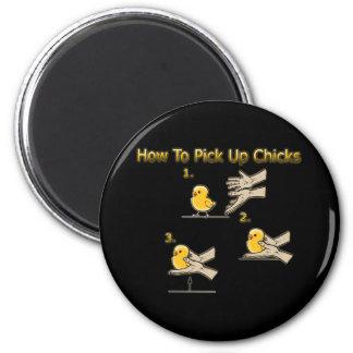 Wie man Küken-lustige Richtungen aufhebt Runder Magnet 5,7 Cm