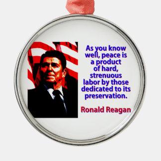 Wie Sie gut wissen - Ronald Reagan Rundes Silberfarbenes Ornament