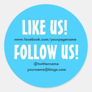 Wie wir folgen Sie uns kundenspezifischer Sozialme Runde Sticker