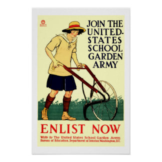 Wieder hergestellt 1918 Schulgartenarbeit Edward Poster