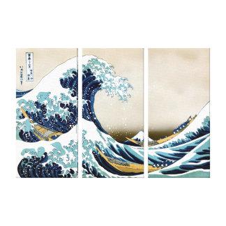 Wieder hergestellte große Welle weg von Kanagawa Leinwanddruck