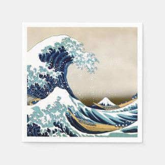 Wieder hergestellte große Welle weg von Kanagawa Papierservietten