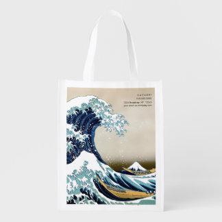 Wieder hergestellte große Welle weg von Kanagawa Wiederverwendbare Einkaufstasche