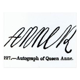 Wiedergabe der Unterzeichnung der Königin Anne Postkarte