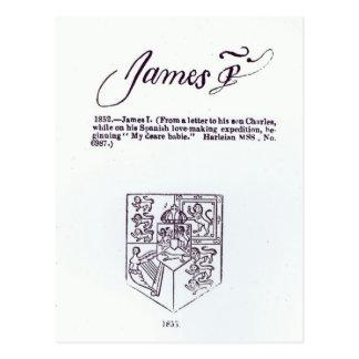 Wiedergabe der Unterzeichnung von James VI und Postkarte