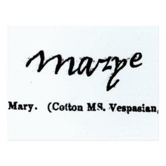 Wiedergabe der Unterzeichnung von Mary I Postkarte