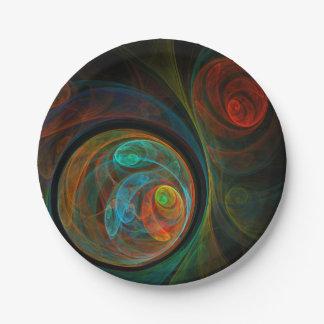 Wiedergeburt-blaue abstrakte Kunst Pappteller
