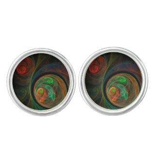 Wiedergeburt-grünes abstraktes Kunst-Silber Manschetten Knöpfe