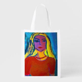 Wiederverwendbare Einkaufstasche blonde junge Frau