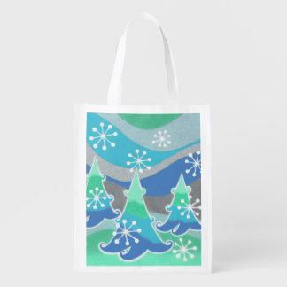 Wiederverwendbare Tasche der Winter-Bäume Wiederverwendbare Einkaufstasche