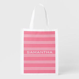 Wiederverwendbare Tasche des rosa Monogramms der Wiederverwendbare Einkaufstasche
