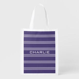 Wiederverwendbare Tasche des violetten Monogramms Wiederverwendbare Einkaufstasche