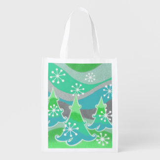 Wiederverwendbare Tasche des Winter-Baum-Grüns Wiederverwendbare Einkaufstasche