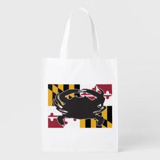 Wiederverwendbare Tasche Marylandflagge/-krabbe Wiederverwendbare Einkaufstasche