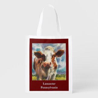 Wiederverwendbare Taschentasche mit Kuh Wiederverwendbare Einkaufstasche
