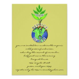 Wiederverwendung verringern recyceln 10,8 x 14 cm einladungskarte
