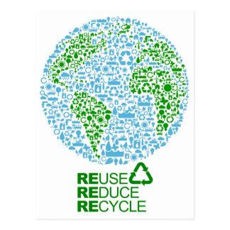 Wiederverwendung verringern recyceln für unsere postkarte