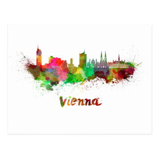 Wien skyline im Watercolor Postkarte