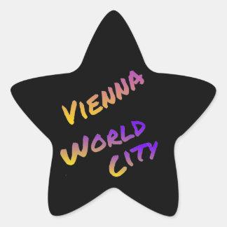 Wien-Weltstadt, buntes Buchstabekunstschwarzes Stern-Aufkleber