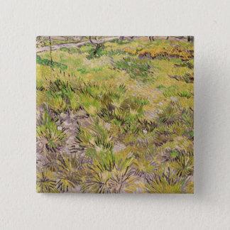 Wiese Vincent van Goghs | mit Schmetterlingen, Quadratischer Button 5,1 Cm