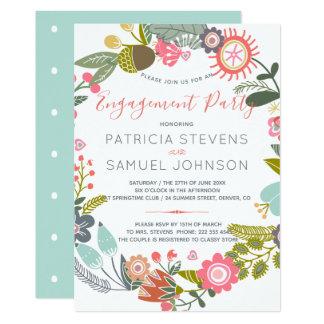 Wiesen-Wildblumen Wreath-Verlobungs-Party Karte