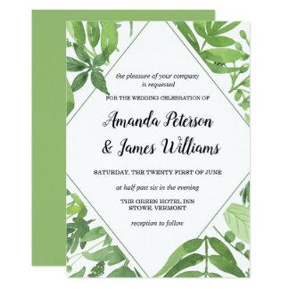 Wiesengrün-Diamant Hochzeit des schicken Aquarells Karte