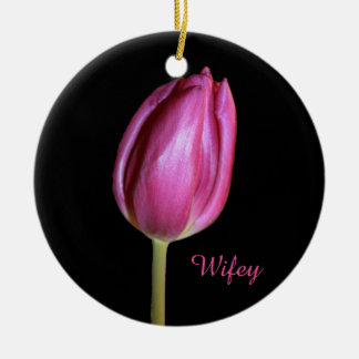 Wifey Ehefrau-Rosa-Tulpe-Blumen-BlumenFotos Rundes Keramik Ornament