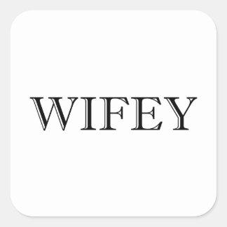 Wifey verheiratete Paare Quadratischer Aufkleber