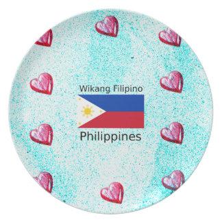 Wikang philippinische Sprache und Teller