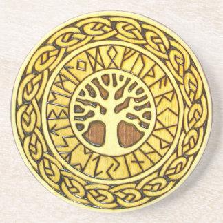 Wikinger-Runen mit Baum-Sandstein-Getränk-Unterset Getränke Untersetzer