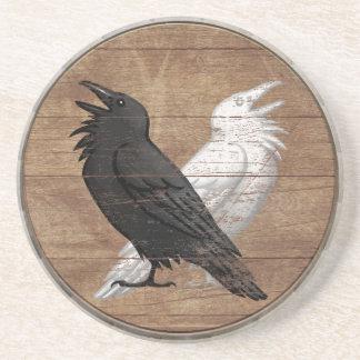 Wikinger-Schild-Untersetzer - Odins Raben