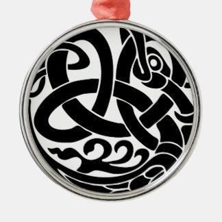 Wikinger-Weltschlangen-Weltesser Jormungandr Rundes Silberfarbenes Ornament
