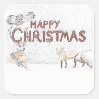 Wild lebende Tiere am Weihnachtsaufkleber Quadratischer Aufkleber