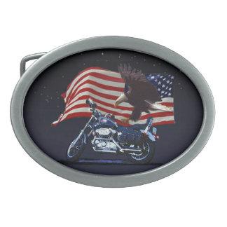 Wild u. geben Sie - patriotisches Eagle, Motorrad Ovale Gürtelschnallen