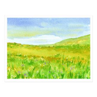 Wildblume-Graslandwatercolor-Malerei Postkarte