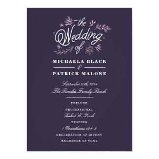 Wildblume-Hochzeits-Programm Karte