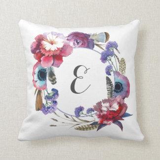 Wildblume-Pfingstrose mit Blumen mit Monogramm der Kissen