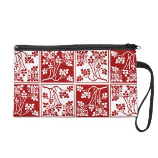 Wildblume-rotes Weiß deckte hübsches mit Wristlet Handtasche