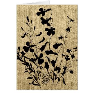 Wildblume-Silhouette-Leinwand Karte